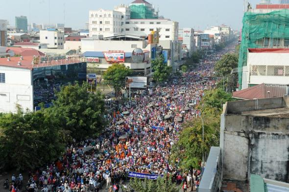 Massive public demonstrations in Phnom Penh, December 2013